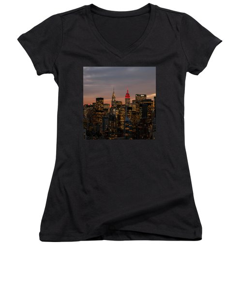 Women's V-Neck T-Shirt (Junior Cut) featuring the photograph Icons Of Nyc by Anthony Fields