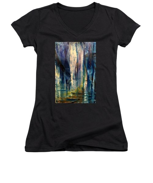 Icy Cavern Abstract Women's V-Neck (Athletic Fit)