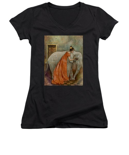 Women's V-Neck T-Shirt (Junior Cut) featuring the digital art If Elephants Were Painted by Lisa Noneman