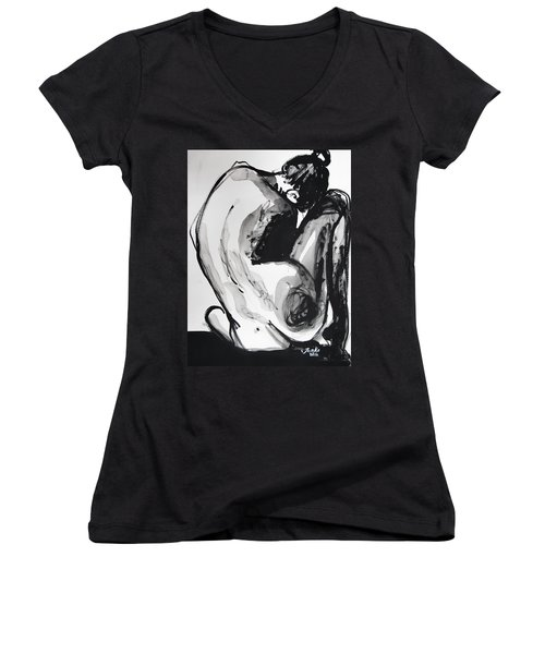 Women's V-Neck T-Shirt featuring the painting If You Leave Me Now by Jarko Aka Lui Grande