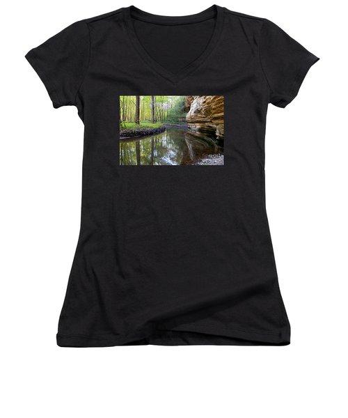 Illinois Canyon In Spring Women's V-Neck T-Shirt (Junior Cut) by Paula Guttilla
