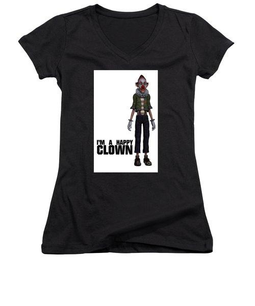 I'm A Happy Clown Women's V-Neck T-Shirt (Junior Cut) by Esoterica Art Agency
