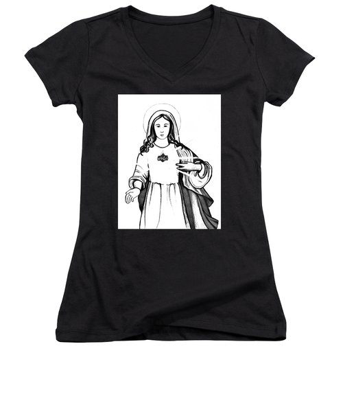 Women's V-Neck T-Shirt (Junior Cut) featuring the drawing Immaculate Heart Of Mary by Mary Ellen Frazee