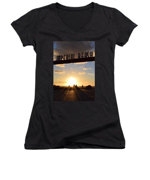 Imperial Beach At Sunset Women's V-Neck T-Shirt (Junior Cut) by Karen J Shine