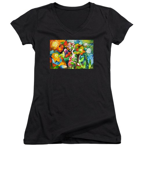 In Bloom Women's V-Neck T-Shirt (Junior Cut) by Sally Trace