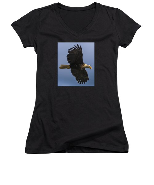 Women's V-Neck T-Shirt (Junior Cut) featuring the photograph In Flight by Gary Lengyel
