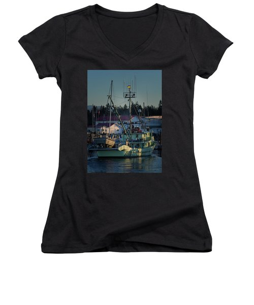 Women's V-Neck T-Shirt (Junior Cut) featuring the photograph In For Ice by Randy Hall