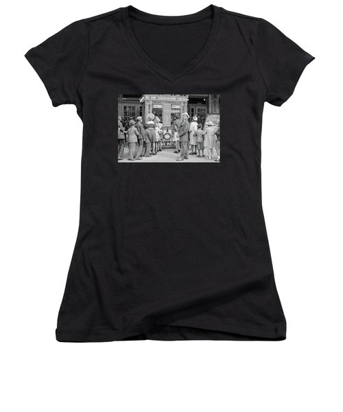 In Front Of A Movie Theater, Chicago, Illinois Women's V-Neck