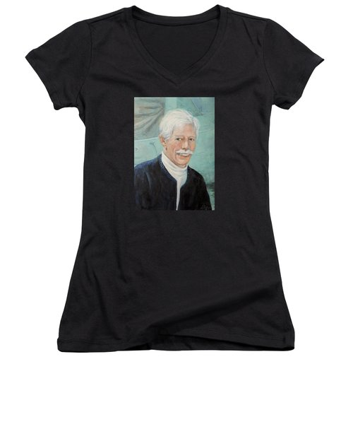 Women's V-Neck T-Shirt (Junior Cut) featuring the painting In Memory Of Uncle Bud by Donna Tucker