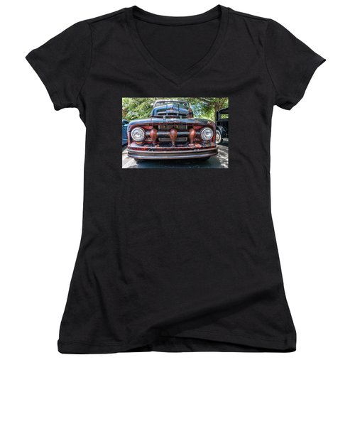 Women's V-Neck featuring the photograph In My Grill by Michael Sussman