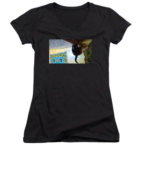In Or Out  Women's V-Neck T-Shirt (Junior Cut) by Karl Reid
