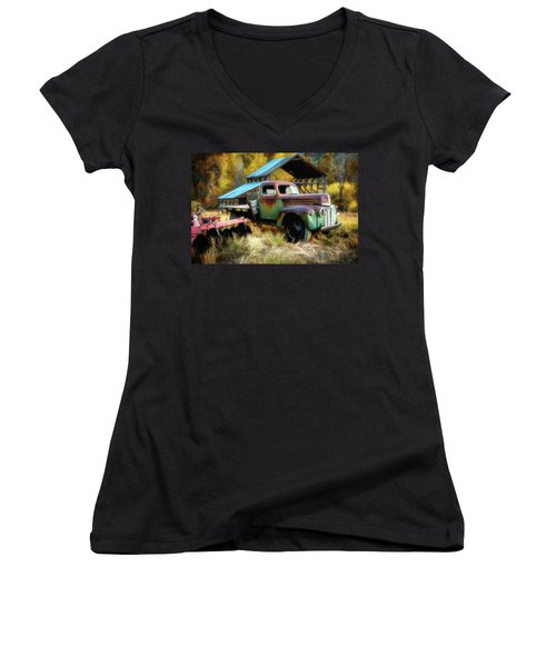 In The Autumn Of Life - 1945 Ford Flatbed Truck Women's V-Neck