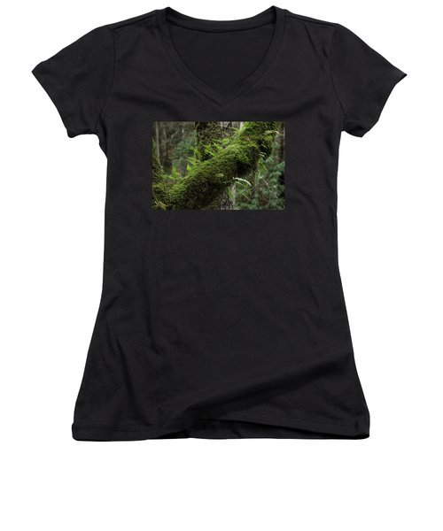 Women's V-Neck T-Shirt (Junior Cut) featuring the photograph In The Cool Of The Forest by Mike Eingle