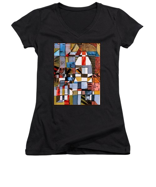 In The Dog House Women's V-Neck T-Shirt (Junior Cut) by Mindy Newman