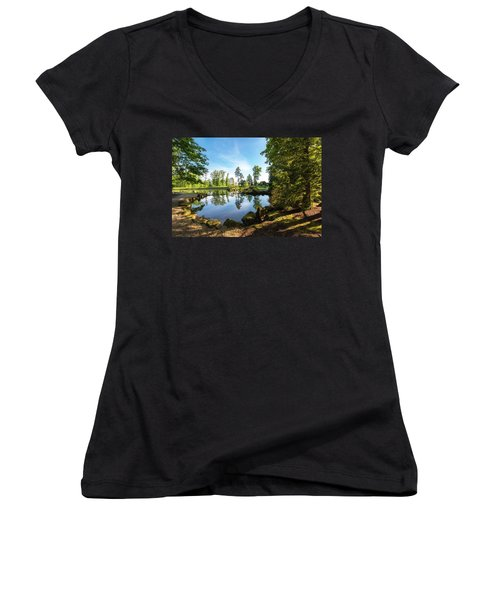Women's V-Neck T-Shirt (Junior Cut) featuring the photograph In The Early Morning Light by Tom Mc Nemar