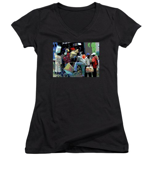 In The Market Place Women's V-Neck T-Shirt (Junior Cut) by B Wayne Mullins
