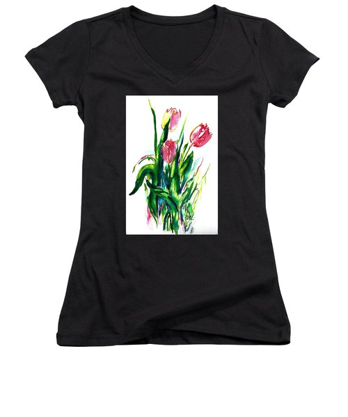 In The Pink Tulips Women's V-Neck (Athletic Fit)