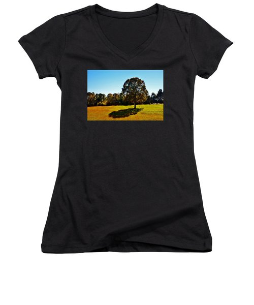 In The Shadow Of A Tree Women's V-Neck