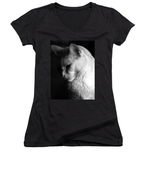 In The Shadows Women's V-Neck T-Shirt (Junior Cut) by Bob Orsillo