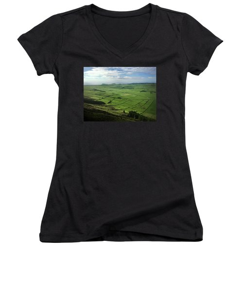 Incide The Bowl Terceira Island, Azores, Portugal Women's V-Neck T-Shirt (Junior Cut) by Kelly Hazel