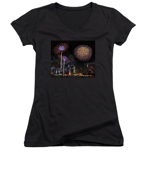 Independence Day Women's V-Neck T-Shirt (Junior Cut) by Roman Kurywczak