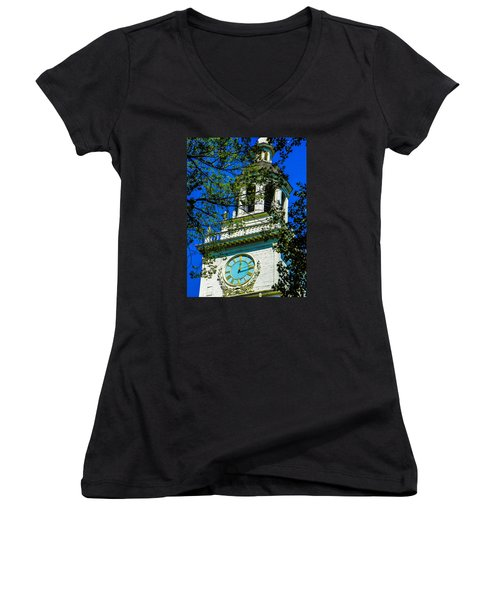 Independence Hall Clock Tower Women's V-Neck (Athletic Fit)
