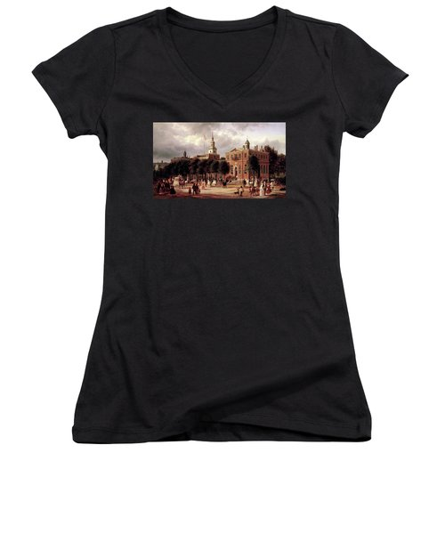 Women's V-Neck T-Shirt (Junior Cut) featuring the painting Independence Hall by Ferdinand Richardt