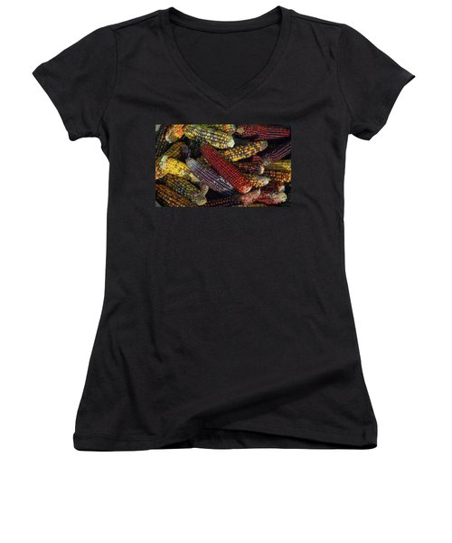 Indian Corn Women's V-Neck T-Shirt (Junior Cut) by Joanne Coyle