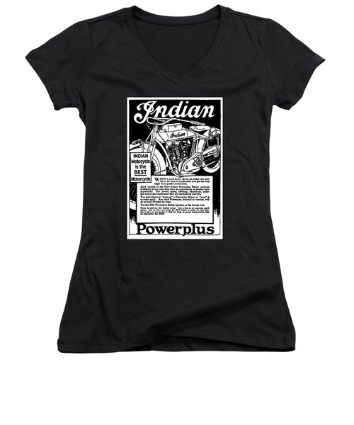 Women's V-Neck T-Shirt (Junior Cut) featuring the digital art Indian Power Plus Motocycle Ad 1916 by Daniel Hagerman
