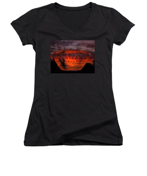 Women's V-Neck T-Shirt (Junior Cut) featuring the photograph Indian Summer Sunrise by Joyce Dickens