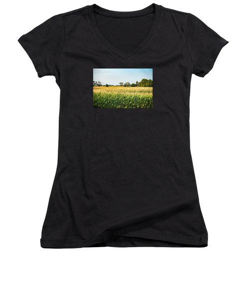 Indiana Corn Field Women's V-Neck (Athletic Fit)