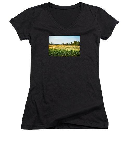 Indiana Corn Field Women's V-Neck T-Shirt