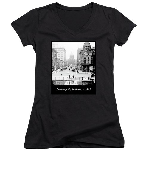 Indianapolis, Indiana, Downtown Area, C. 1915, Vintage Photograp Women's V-Neck T-Shirt (Junior Cut) by A Gurmankin