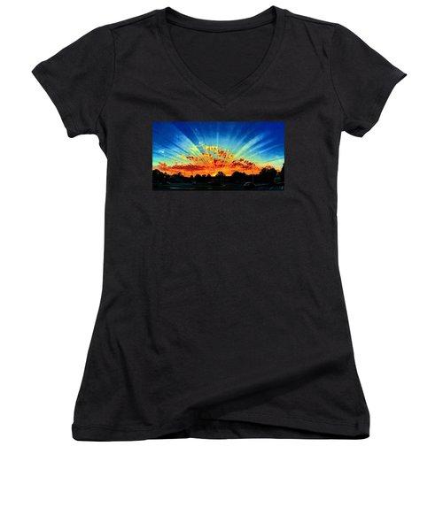 Infinite Rays From An Otherworldly Sunset Women's V-Neck