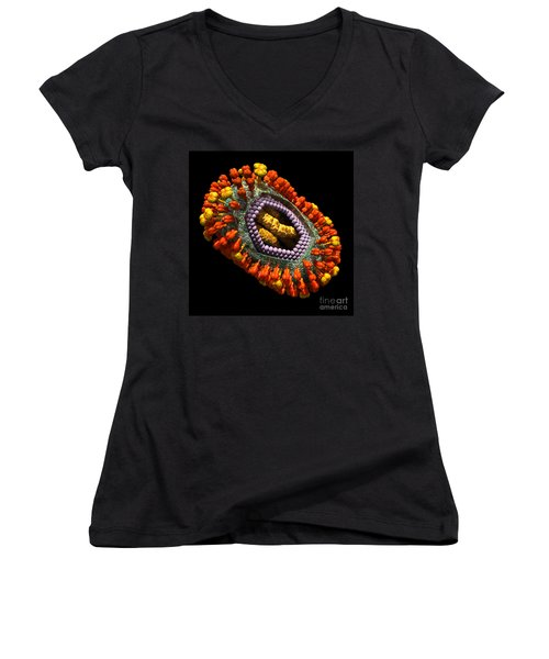 Influenza Virus Cutaway 5 Women's V-Neck