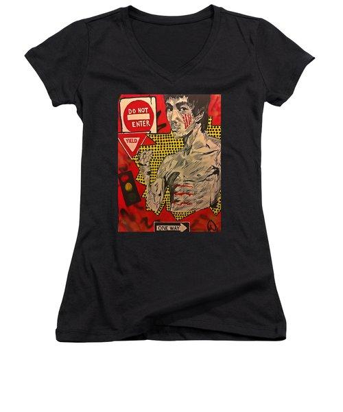 Inner Warrior  Women's V-Neck T-Shirt (Junior Cut) by Miriam Moran