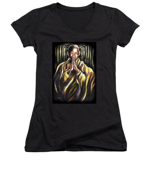 Women's V-Neck T-Shirt (Junior Cut) featuring the painting Inori Prayer by Hiroko Sakai