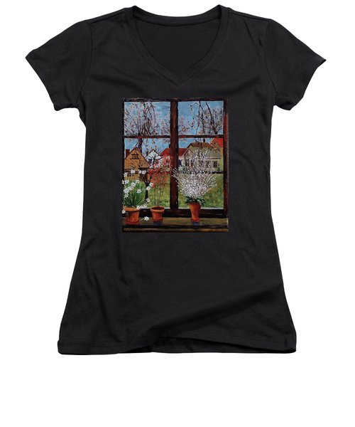 Inside Looking Out Women's V-Neck T-Shirt (Junior Cut) by Mike Caitham