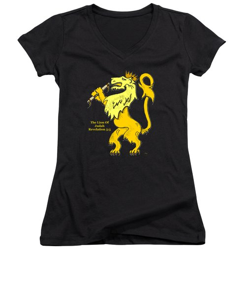 Women's V-Neck T-Shirt (Junior Cut) featuring the drawing Inspirational - The Lion Of Judah by Glenn McCarthy Art and Photography