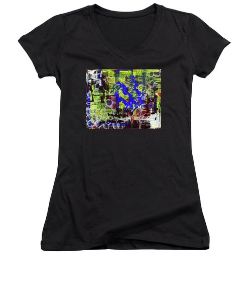 Women's V-Neck T-Shirt (Junior Cut) featuring the painting Intensity by Cathy Beharriell