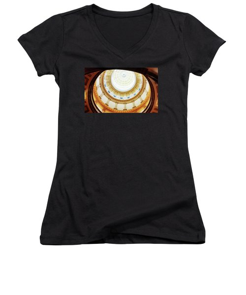 Women's V-Neck T-Shirt (Junior Cut) featuring the photograph Interior Denver Capitol by Marilyn Hunt