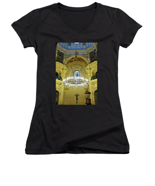 Interior Evening View Of St. Nicholas Church In Prague Women's V-Neck (Athletic Fit)