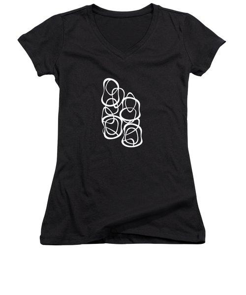 Interlocking - White On Black - Pattern Women's V-Neck T-Shirt (Junior Cut) by Menega Sabidussi