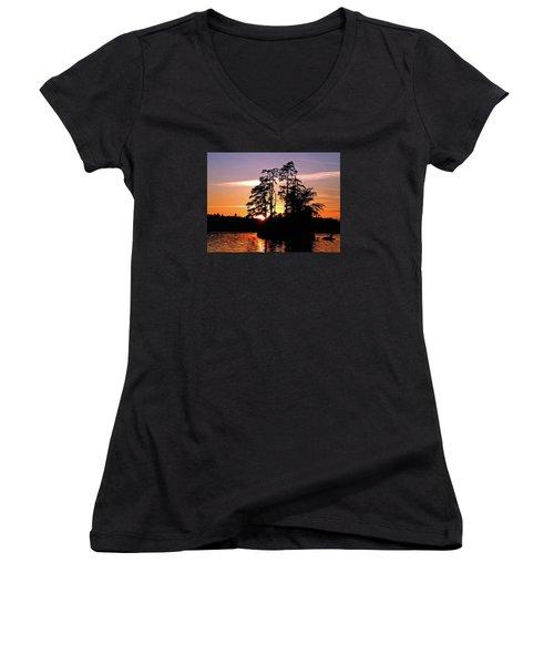 Into Shadow Women's V-Neck T-Shirt (Junior Cut) by Lynda Lehmann