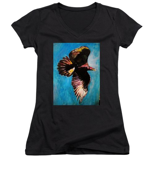Into The Skies. Women's V-Neck T-Shirt (Junior Cut) by Khalid Saeed