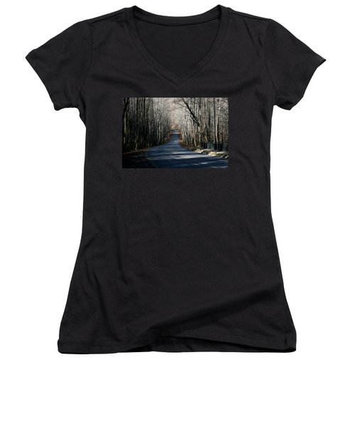 Women's V-Neck T-Shirt (Junior Cut) featuring the photograph Into The Woods by Cathy Harper