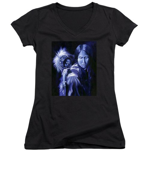 Women's V-Neck T-Shirt (Junior Cut) featuring the painting Inuit Mother And Child by Nancy Griswold