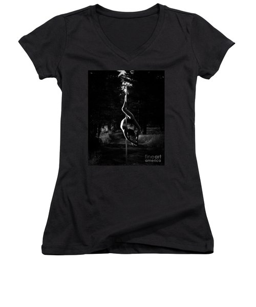 Inverted Pole Dance In Forest Women's V-Neck (Athletic Fit)