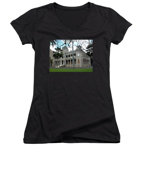 Women's V-Neck T-Shirt (Junior Cut) featuring the photograph Iolani Palace, Honolulu, Hawaii by Mark Czerniec
