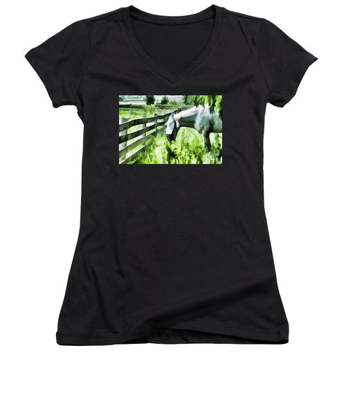 Women's V-Neck T-Shirt (Junior Cut) featuring the digital art Iowa Farm Pasture And White Horse by Wilma Birdwell